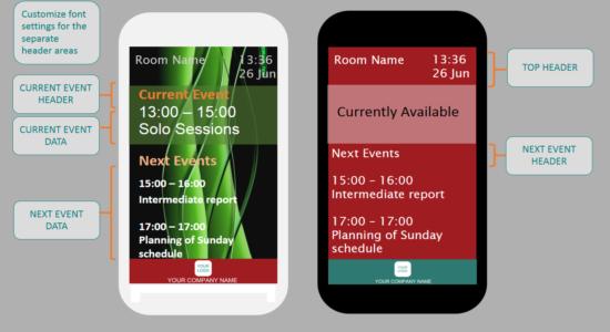 Meeting Room Schedule - Font Customization