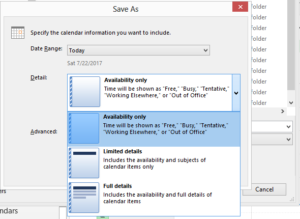 export Microsoft Outlook Calendar