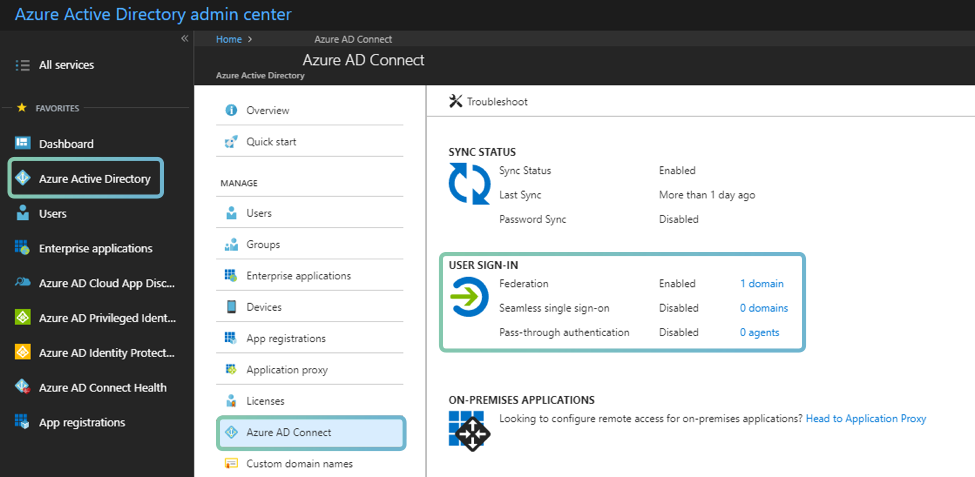 Select Microsoft Azure active directory and select on Azure AD Connect